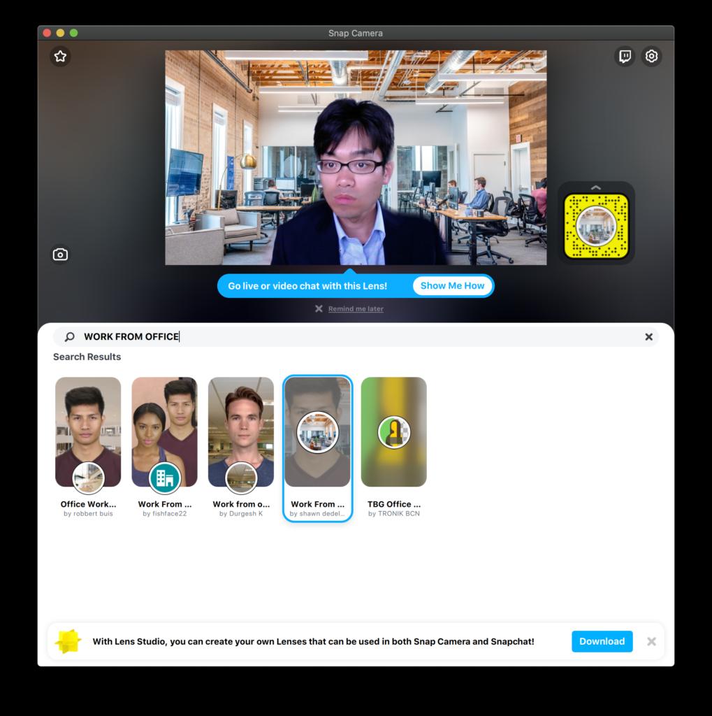 Snap Cameraにおいて「WORK FROM OFFICE」でLens検索した結果。