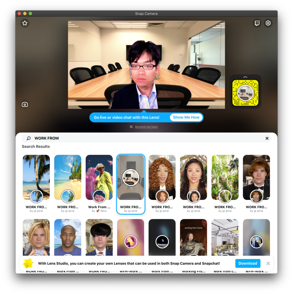 Snap Cameraにおいて「WORK FROM」でLens検索した結果。
