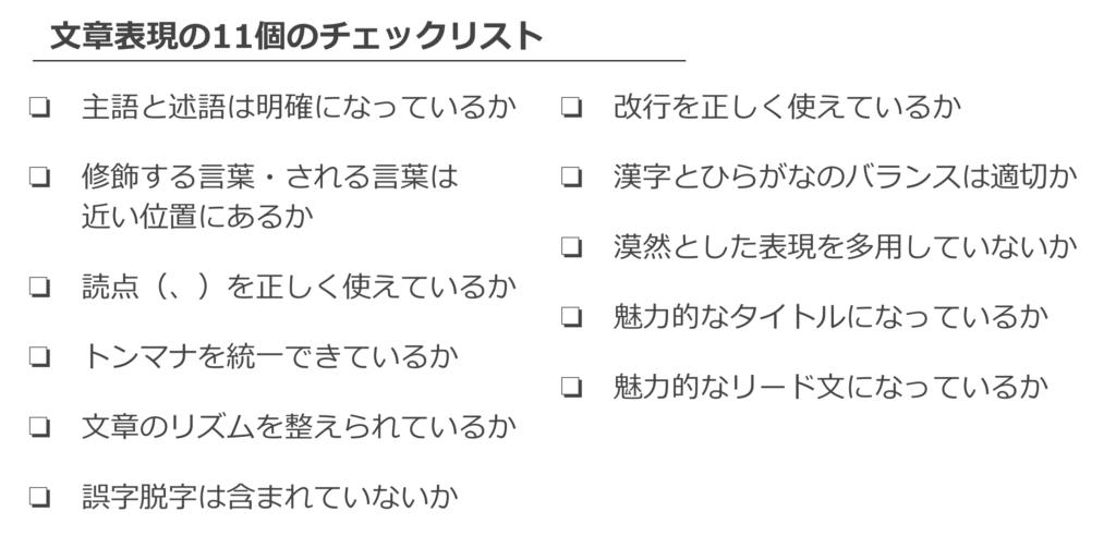 文章表現の11個のチェックリスト
